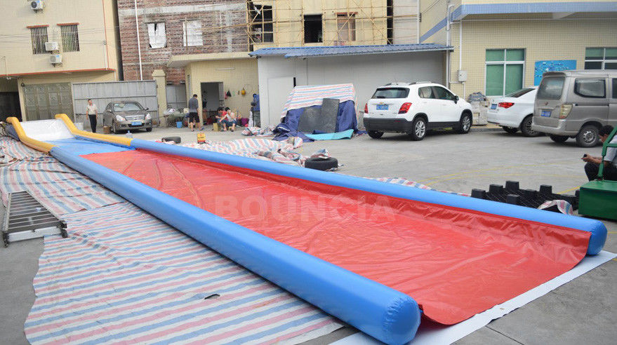 27m Long Air Sealed Inflatable Water Slides For Lakeside / Inflatable Slip N Slide