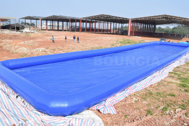 Custom Blue Color Largest Inflatable Water Pool / Square Above Ground Water Pool