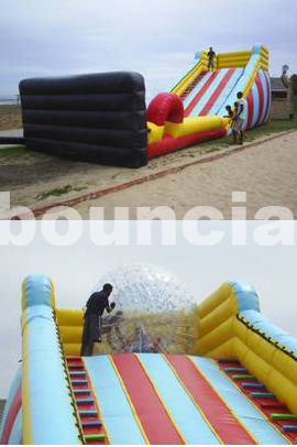5m High Inflatable Zorb Ball Slope ,Inflatable Track For Zorbing Ball