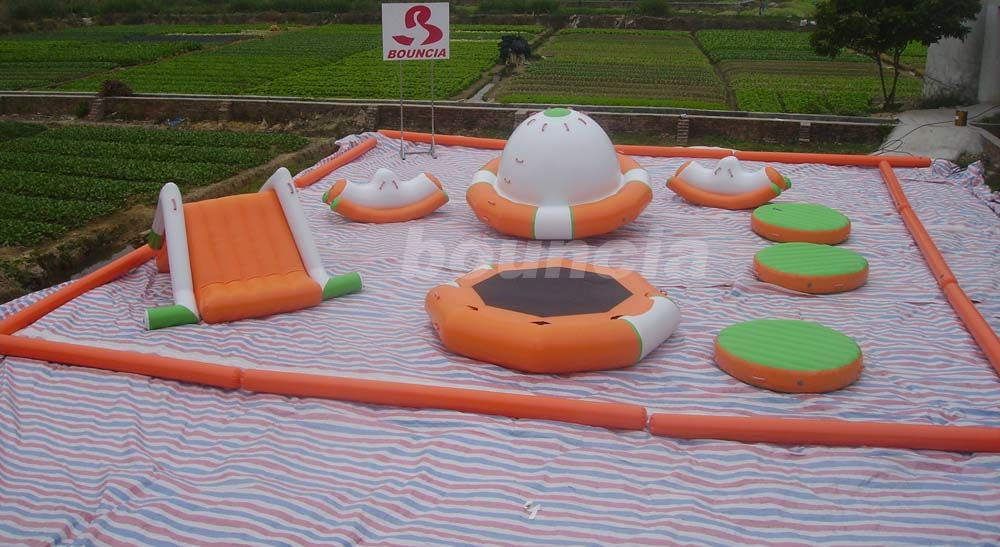 0.9mm PVC Tarpaulin Inflatable Water Park For Kids / Water Inflatable Park With Slide