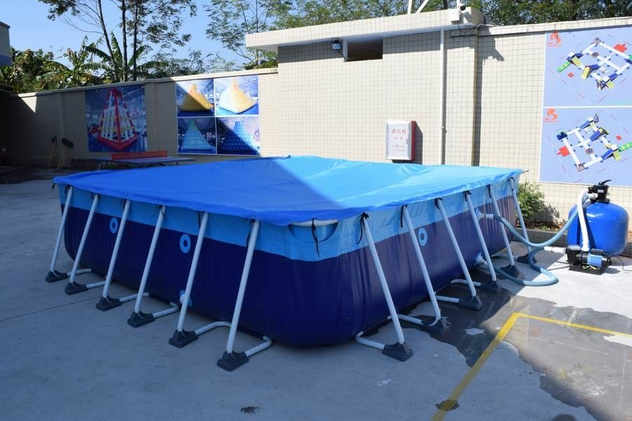 13ft*13ft Metal Frame Swimming Pool For Backyard , Square Above Ground Pool  With Cover