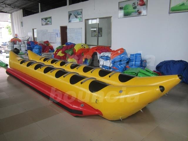 PVC Tarpaulin Kids Inflatable Banana Boat / Double Tube Water Banana Boat